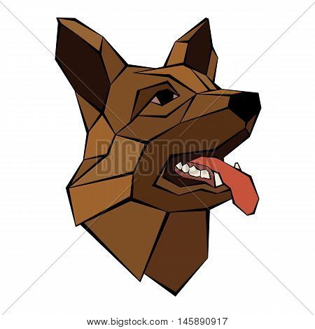 German Shepherd dog head realistic style  poly design