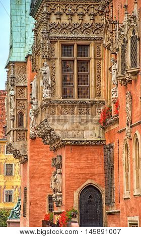 Architecture of the Market square in Wroclaw Poland. Wroclaw is the historical capital of Silesia and Lower Silesia