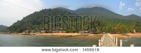 Tropical Beach With Jungle Mountains, Tioman Islands, Malaysia, Panorama