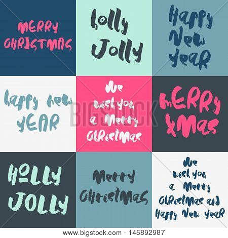 Set of 9 decorative Xmas greeting Card. Handwritten phrases isolated on colorful backgrounds. Cute calligraphic style. Christmas template for invitations, posters, postcards.