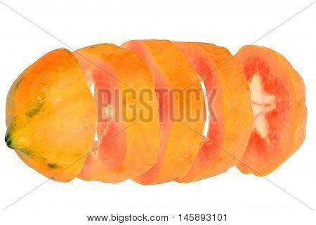 Fived  Sliced sweet papayas on white background.