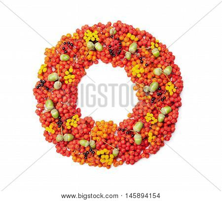 Autumn wreath from rowan acorns flowers and various fruits isolated on white background top view. Flat lay styling.