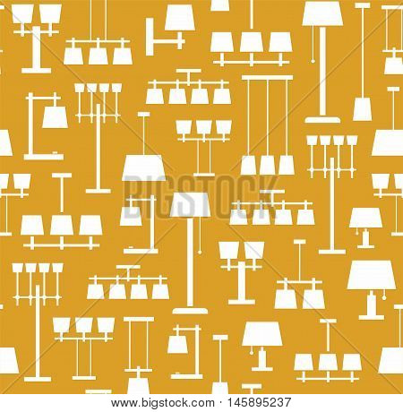 Lamps ceiling, table, floor, background, seamless, yellow, monochrome. Vector background with images of various types of lamps. White, flat image on a yellow background.