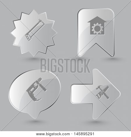 4 images: hacksaw, repair shop, electric drill, hand saw and hammer. Industrial tools set. Glass buttons on gray background. Vector icons.