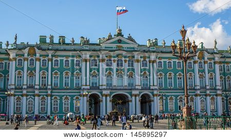 St.PETERSBURG, RUSSIA - AUG 31, 2016: Winter Palace on Palace Square. The Winter Palace was from 1732 to 1917, the official residence of the Russian monarchs.