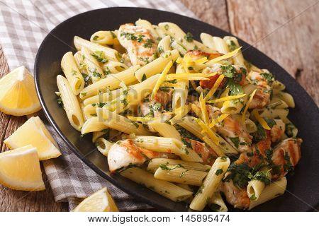 Penne Pasta With Pesto, Chicken Breast And Lemon Closeup. Horizontal