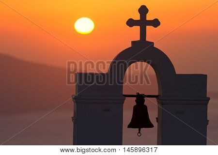Famous church in Fira Santorini shot at sunset
