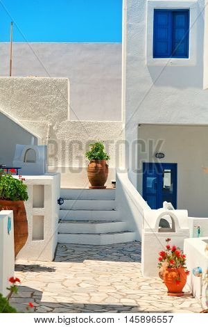 Abstract architecture in town of Fira Santorini Greece