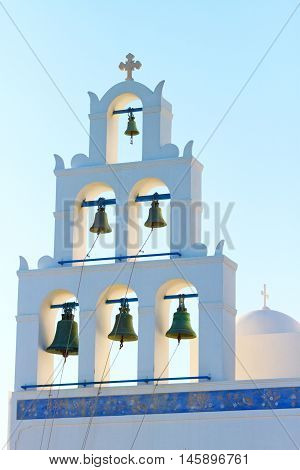 Church with bells in the town of Fira Santorini