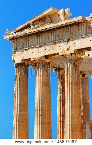 The Doric temple Parthenon at Acropolis hill. Athens Greece. Close up on columns.