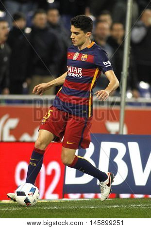 BARCELONA, SPAIN - JAN, 13: Marc Bartra of FC Barcelona during a Spanish Kings Cup match against RCD Espanyol at the Power8 stadium on January 13, 2016 in Barcelona, Spain