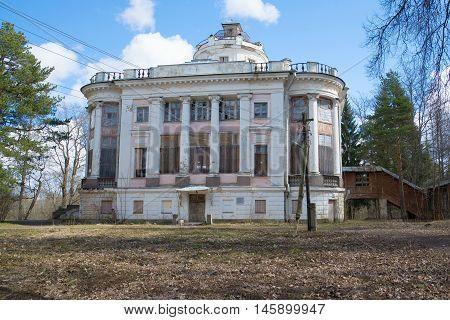 TAYTSY, RUSSIA - APRIL 24, 2016: Building a family of the Demidovs estate, sunny april day. Historical landmark of the city Taytsy, Leningrad region