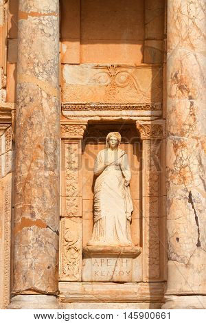Library of Celsus in Ephesus Turkey. Close up on columns and statue