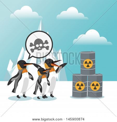 penguin and barrel icon. Global warming nature and environment design. Vector illustration