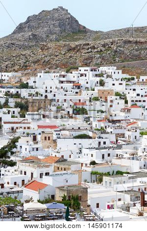 Panorama of Lindos town in Rhodes island Greece. Shot at dusk