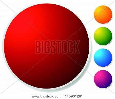 Empty Circle Button, Icon Background In 5 Vibrant Colors. Generic Design Element.