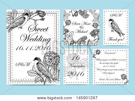 set of wedding invitations to garden roses and birds. Handmade. illustration with flowers and swallows