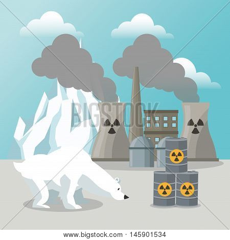 bear industry and iceberg icon. Global warming nature and environment design. Vector illustration
