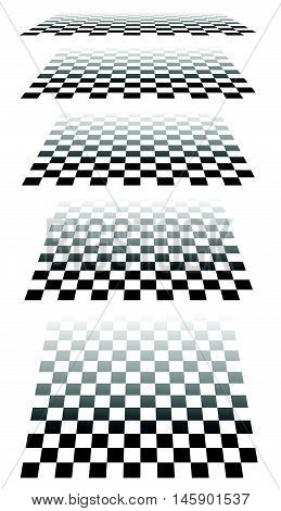 Set Of Chess, Checkered Boards In Perspective