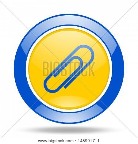 paperclip round glossy blue and yellow web icon