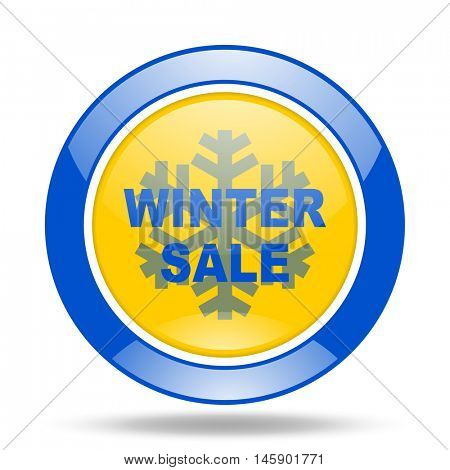 winter sale round glossy blue and yellow web icon