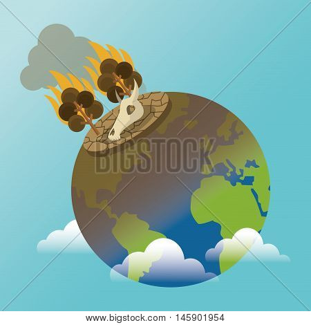 tree and fire on earth icon. Global warming nature and environment design. Vector illustration