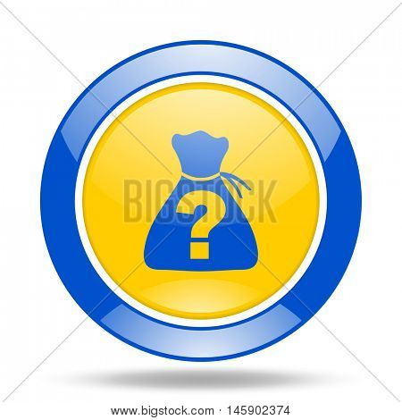 riddle round glossy blue and yellow web icon
