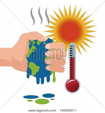 melted planet with thermometer icon. Global warming nature and environment design. Vector illustration