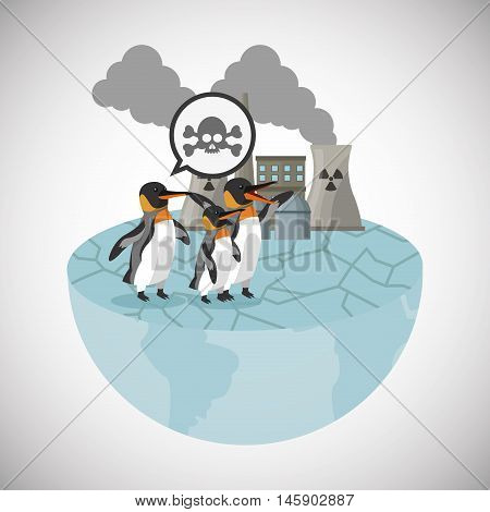 penguin and industry icon. Global warming nature and environment design. Vector illustration