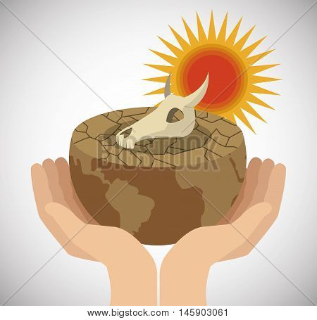 skull earth sun on hands icon. Global warming nature and environment design. Vector illustration