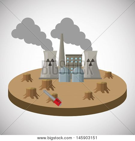 industry factory and smoke icon. Global warming nature and environment design. Vector illustration