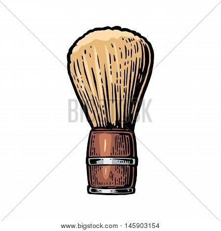 Shaving brush. Vector color illustrations on white backgrounds. Hand drawn vintage engraving for poster label banner web