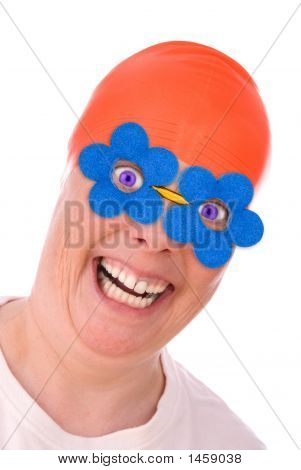 Orange Swim Cap And Glasses