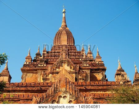 Outdoors view of Htilominlo Temple in Bagan Myanmar