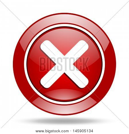 cancel round glossy red web icon