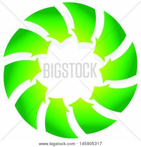 Rotating Green Arrows Point Inwards / Inside. Abstract Shape With Green Arrows