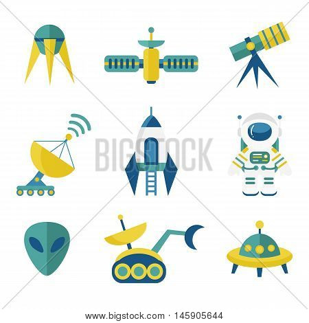 Astronomy Vector Icons Set in Flat Style
