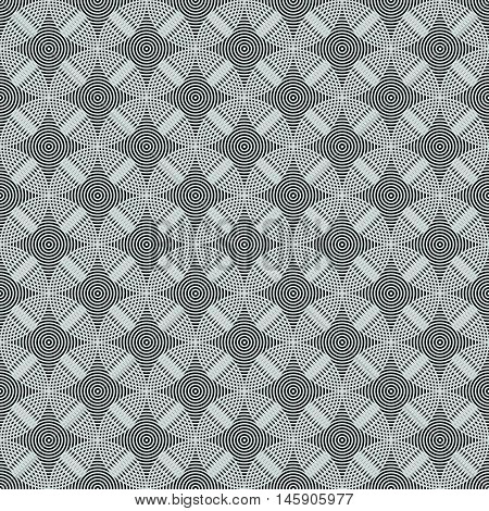 Seamless Circles, Rings Black / White Geometric Pattern