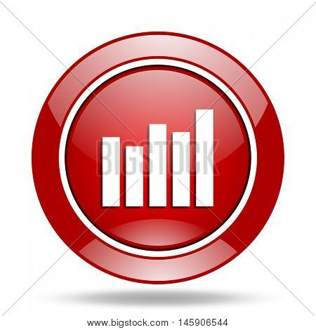 graph round glossy red web icon