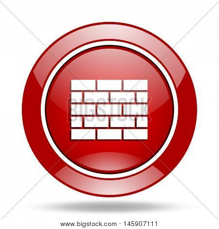 firewall round glossy red web icon