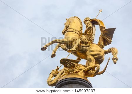 Statue Of St. George And The Dragon In Tbilisi, Georgia