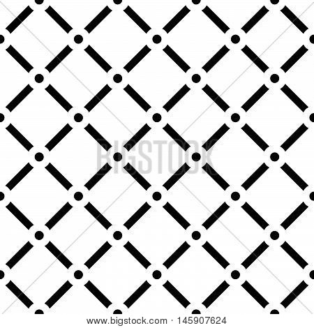 Dotted Grid Mesh Pattern. Squares With Circle Nodes. (seamless, Repeatable)
