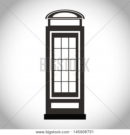 Silhouette of telephone icon. London england landmark and british theme. Isolated design. Vector illustration