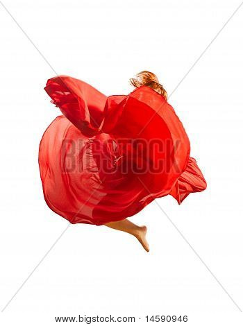 Red Flower Dancer Leaping