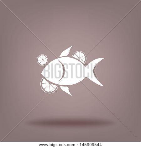 Flat icon. Fish with citrus.