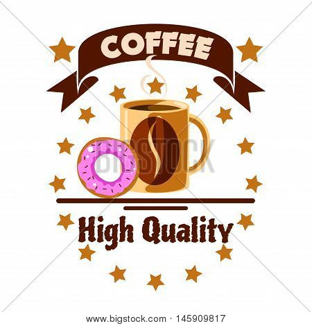 Cafe menu icon. Coffee cup and donut with golden stars, ribbon, coffee beans. Advertising design for cafeteria menu card, signboard, fast food label, coffee shop emblem