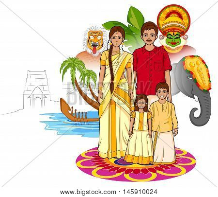 Vector design of Happy Onam background in Indian art style