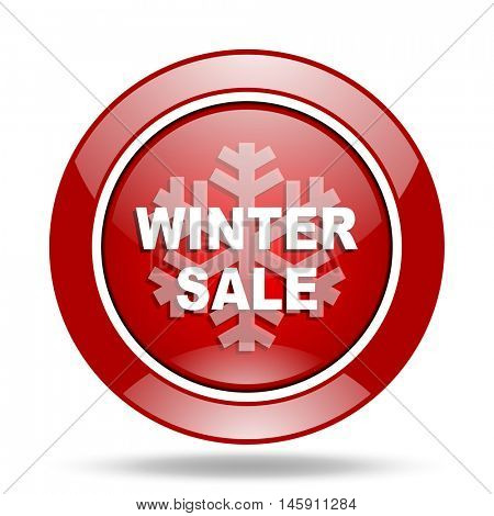 winter sale round glossy red web icon