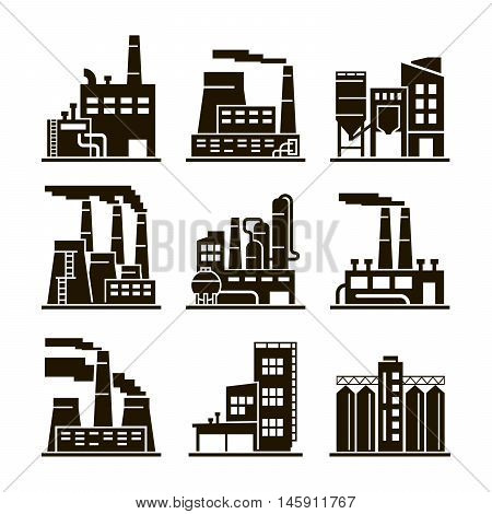 Industrial building. Industry. Production. Energetics. Eecycling. Black icons on white background.