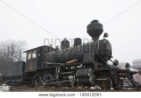 Kouvola, Finland 31 March 2016 - Old Locomotive On Kouvola Railway Station.